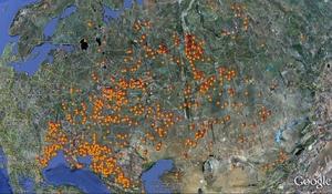 Sytuacja pożarowa w Rosji wg stanu na 11 sierpnia 2010r. - zbliżenie zachodniej części kraju