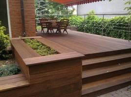 Taras wykonany z drewna Bangkirai, pomalowany Koralan® Holzöl