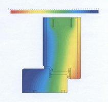 Rozkład temperatur dla przekroju ościeżnicy i skrzydła drzwi zewnętrznych z Kolekcji Arktycznej.