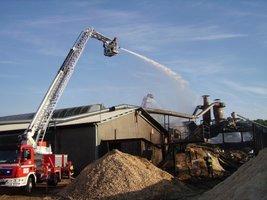 Akcja gaśnicza w tartaku w Świerczynie
