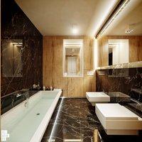 Drewno w łazience ociepla ściany i posadzkę wyłożoną czarnym marmurem