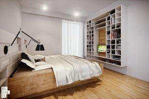 To samo jasne drewno w sypialni podkreśla surowość wnętrza