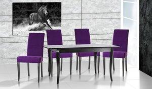 Jeśli chcesz, by Twoje wnętrze odzwierciedlało najnowsze trendy, wykorzystaj odcienie filoletu: wrzos i lawendę. Przy stole Bravo w kolorze wenge dostojnie prezentują się krzesła Aro z najnowszej kolekcji Halex.