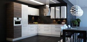 Białe fronty mebli Kammoduł wykonane zostały w technologii akrylowania, która ułatwia utrzymanie kuchni w czystości.