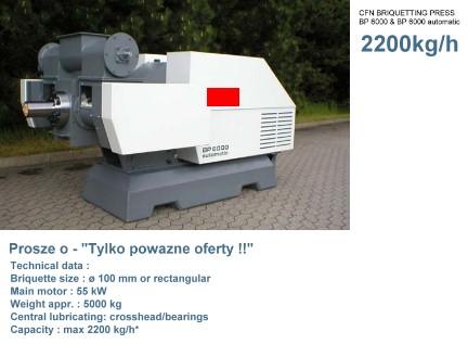 Postawie maszyne do Brykietu i Pellets - 2200kg/h