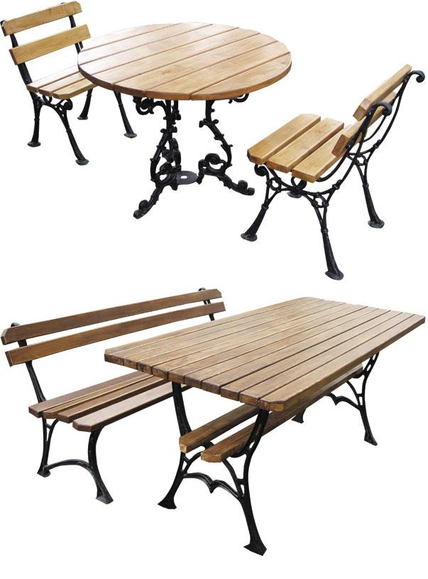 meble ogrodowe żeliwno-drewniane