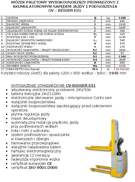 Wózek paletowy elektryczny CV