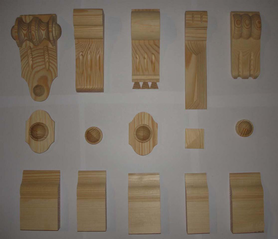 głowiczki, kapitelle, pilastry, do okien i mebli