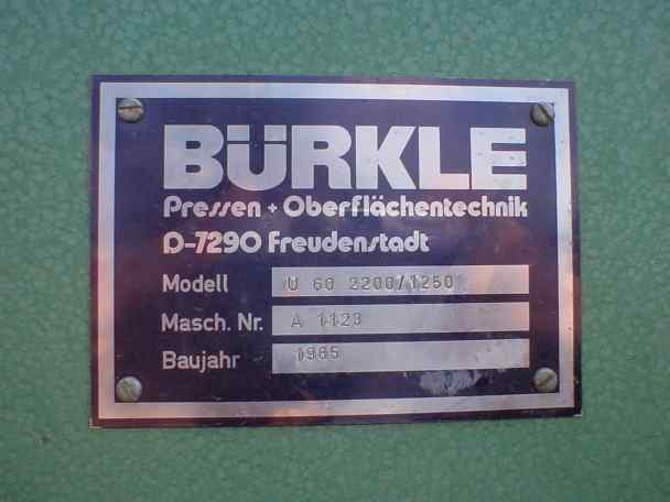 Prasa do fornirowania Buerkle model U 60