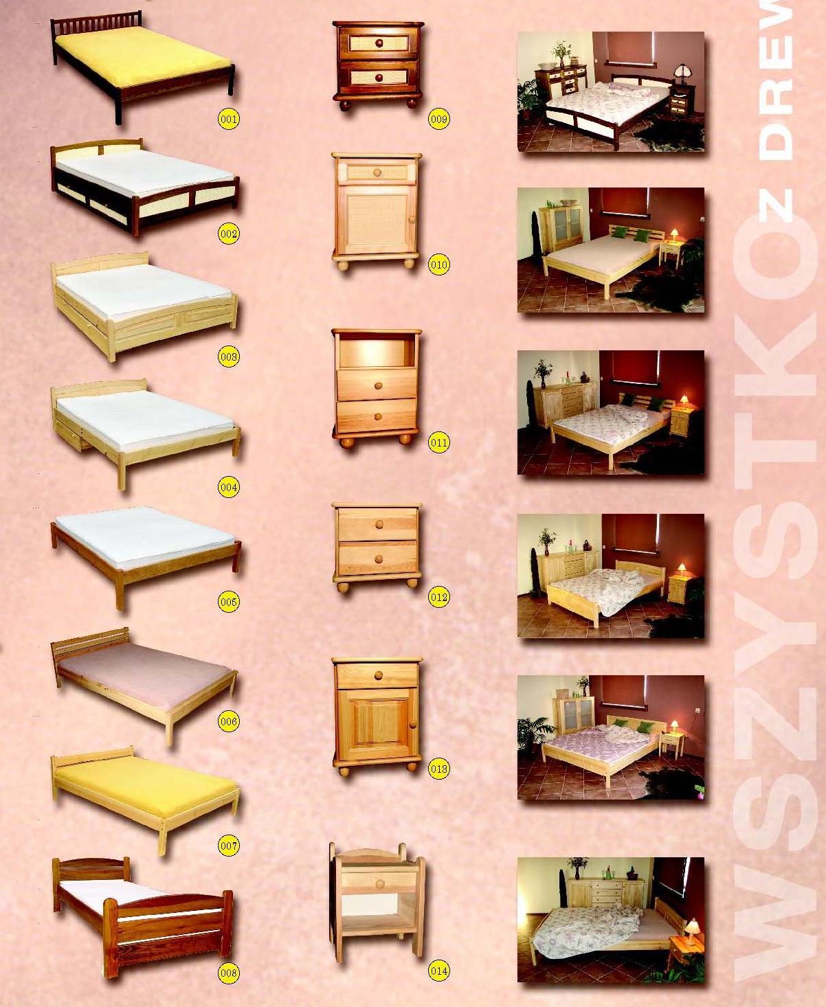 Łóżka sosowe w różnej gamie wzorów i kolorów