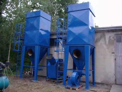 Instalacja odciągowa, 2 odpylacze,powrót powietrza