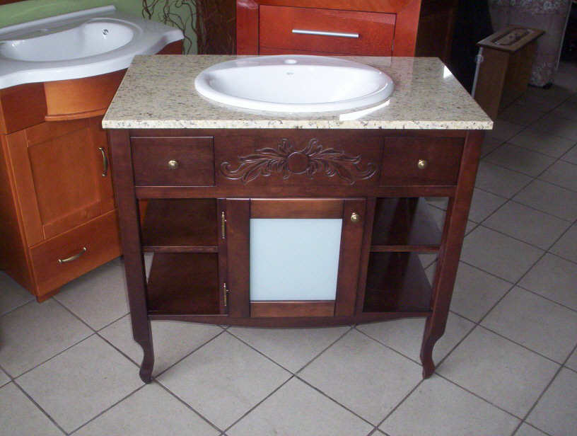 Stylowa szafka łazienkowa z marmurowym blatem