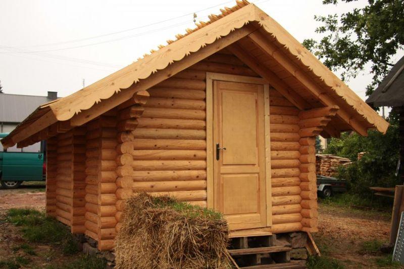 Sauna zewnętrzna z litych bali - ruska bania