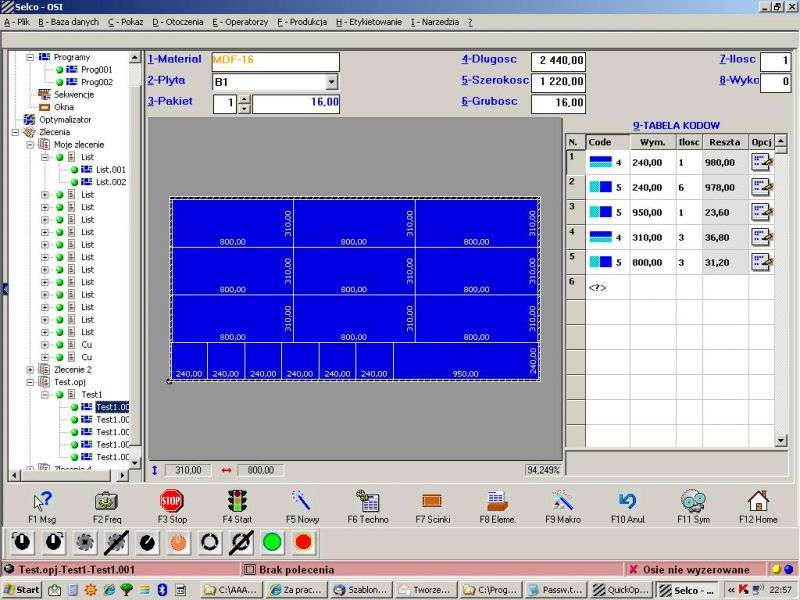 Piła panelowa - SELCO BIESSE EB 80 ACTIVE   2007 rok