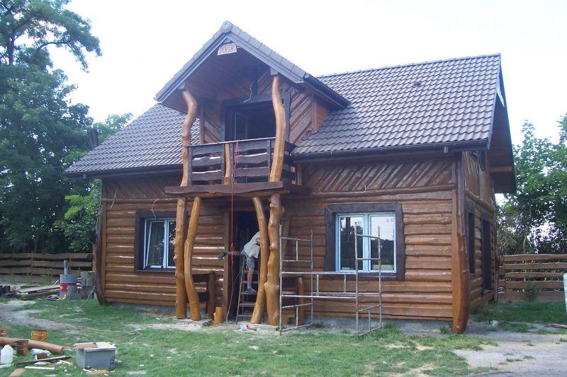 domek, ogrodzenie drewniane, płot, dom drewniany, dom z bala