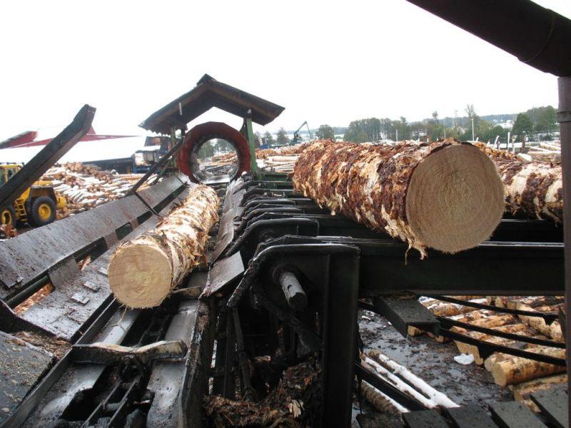 Używany plac surowca do przerobu drewna tartacznego.