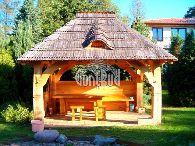 Altana ogrodowa, Altanka, Gont drewniany, Altany, Altanki, Wiaty drewniane