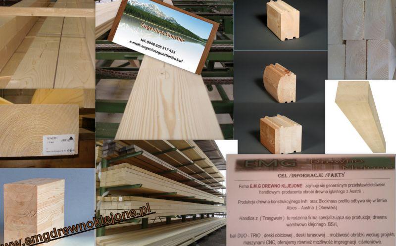 Drewno profilowane /BSH /KVH /BALE PROFILOWANE KLEJONE