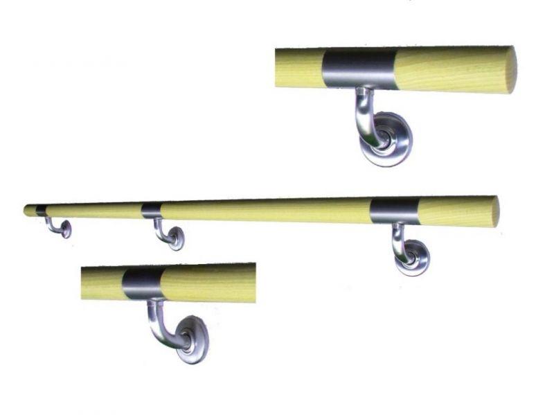 Poręcze systemowe drewno fi 42,4mm ze stalą nierdzewną