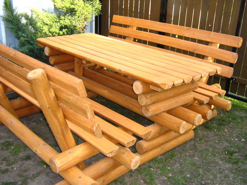 Meble Ogrodowe Z Grubych Bali Drewnianych : Drewniane Meble Ogrodowe Z Bala Warszawa Image 1 Pictures to pin on