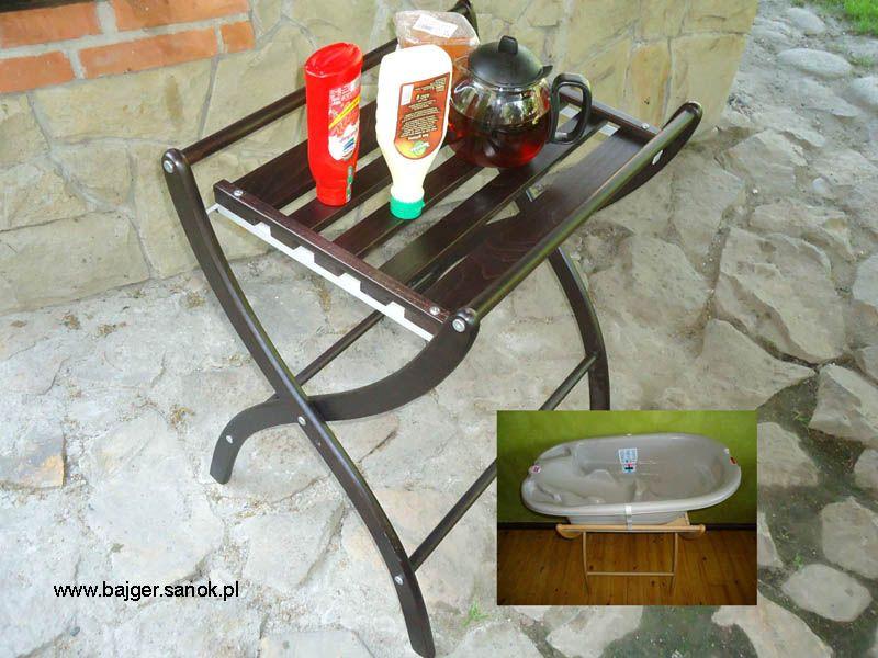 drewniane stojaki i stoliki rozkładane