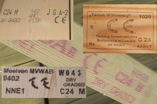 Przykłady oznaczenia CE na tarcicy konstrukcyjnej