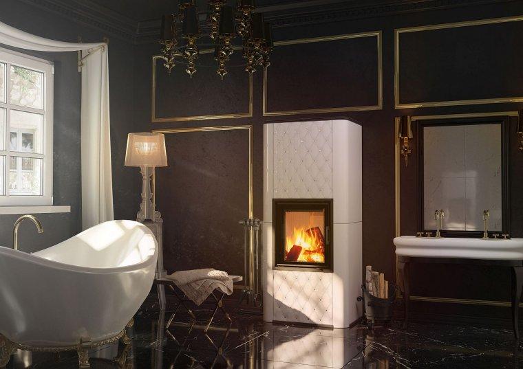 Wkład kominkowy w zabudowie kaflowej w salonie kąpielowym