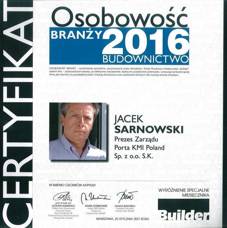 Jacek Sarnowski - Osobowość Branży 2016