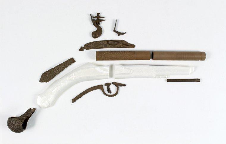 Pistolet skałkowy wydruk 3D - rozłożenie elementów