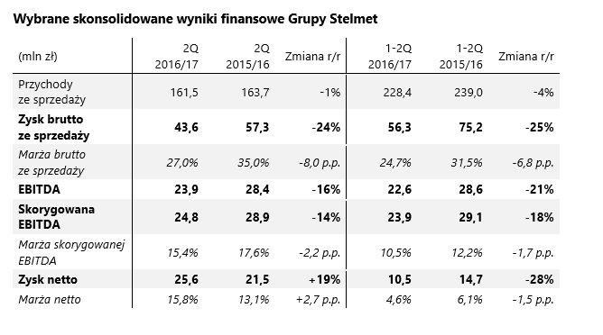 Wybrane skonsolidowane wyniki finansowe Grupy Stelmet