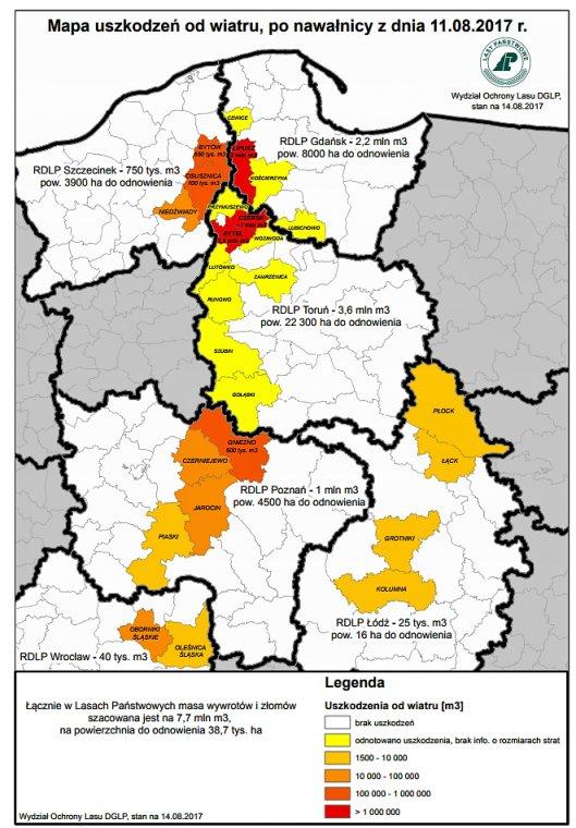 Mapa strat w Lasach Państwowych