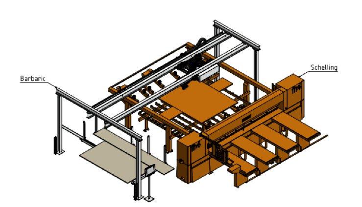 W pełni automatyczny załadunek podciśnieniowy płyt Austriackiej firmy Barbaric model LCV.
