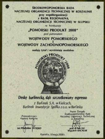 Dyplom dla Dęba Szczotkowanego Espresso