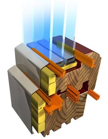 Drewniano-aluminiwowe okna Pozbud oferuje w kilku typach. Na zdjęciu przekrój nowego produktu firmy - okna Exterm Wariant 1