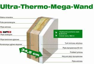 Przekrój przez ścianę Ultra-Thermo-Mega-Wand