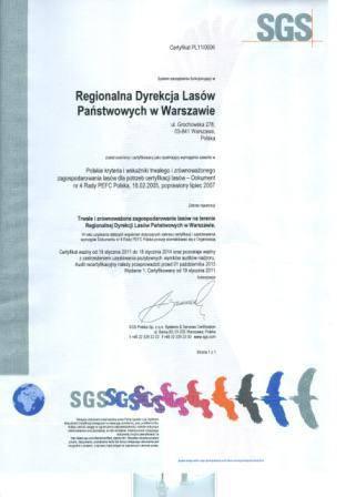 Certyfikat PEFC dla RDLP Warszawa