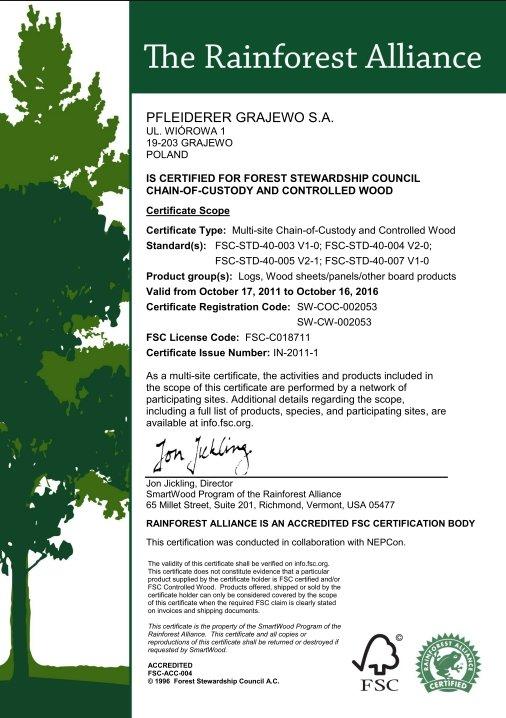 Certyfikat FSC dla Grupy Pfleiderer Grajewo