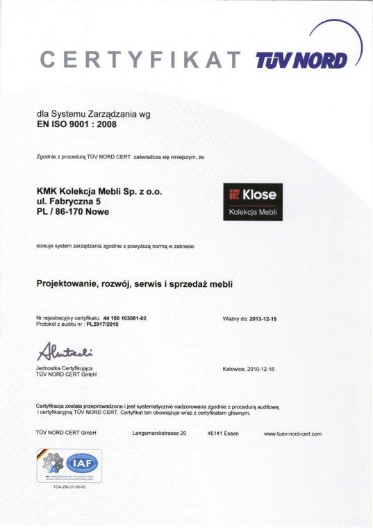 Certyfikat ISO dla Kolekcji Mebli Klose