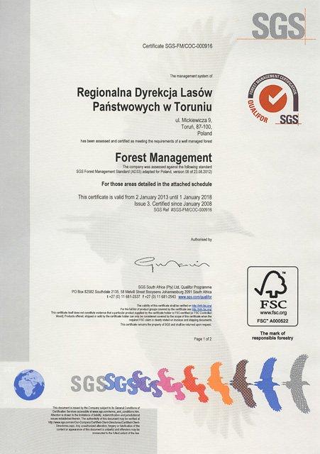 Certyfikat FSC dla RDLP w Toruniu przedłużony