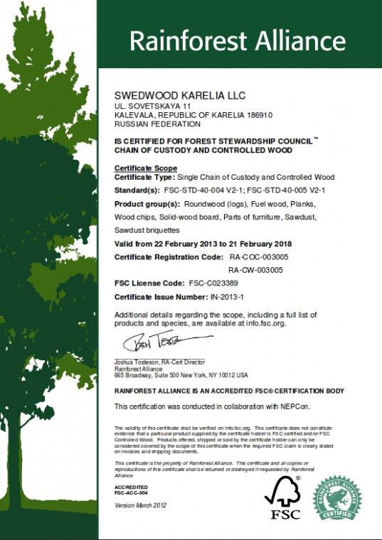 Certyfikat FSC dla Swedwood Karelia LLC