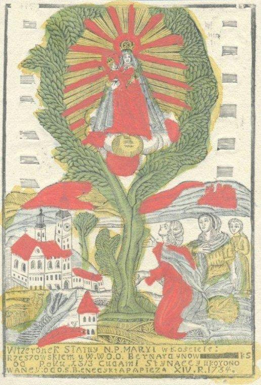 Drzeworyt: Matka Boska Rzeszowska, datowanie: 1801–1841, Narodowa Naukowa Biblioteka Ukrainy im. Stefanyka we Lwowie.