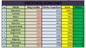 Tabela wyników końcowych