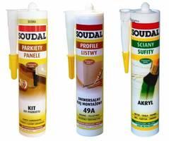 Gama produktów Soudal do odnawiania podłogi: uniwersalny klej montażowy, akryl i kit do parkietu