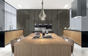 Modernistyczna kuchnia powstała z naturalnych fornirów.