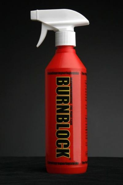 BURNBLOCK-ekologiczny, nietoksyczny środek do impregnacji ognioochronnej drewna, papieru/kartonu i tekstyliów.